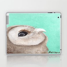 Original Owl Painting Print Aqua Blue Owl Art Owl print Cute Owl art One of a kind Unique Laptop & iPad Skin