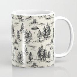 Black Alien Abduction Toile De Jouy Pattern Coffee Mug
