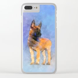 Belgian Malinois Puppy Painting - Mechelaar Clear iPhone Case
