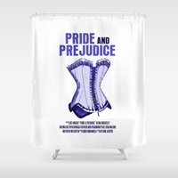 pride and prejudice Shower Curtains featuring Pride And Prejudice Movie Poster by FunnyFaceArt