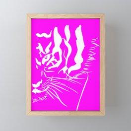 Eye Of The Tiger - Pink & White Framed Mini Art Print