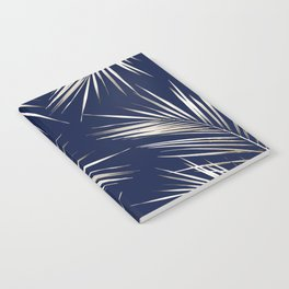 White Gold Palm Leaves on Navy Blue Notebook