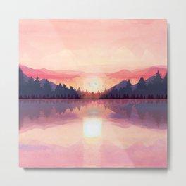 Morning Sunshine over the Peaceful Mountain Lake Metal Print