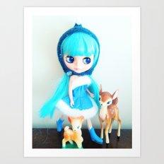 blue and bambi Art Print