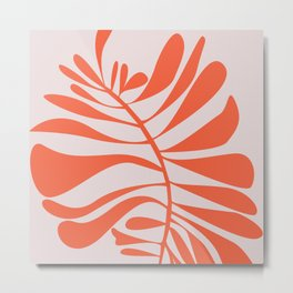 Blush Pink Red Tropical Leaf Metal Print