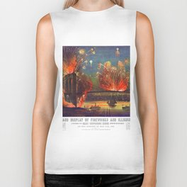 NEW YORK FIREWORKS city old map Father Day art print poster Biker Tank