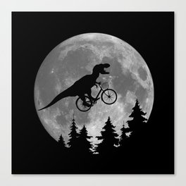 Biker t rex In Sky With Moon 80s Parody Canvas Print
