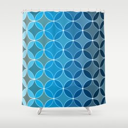 Diamond Fluer Fancy Textile Pattern in Blues Shower Curtain