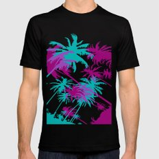 California Palm Trees at Night  Mens Fitted Tee MEDIUM Black