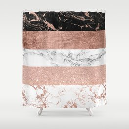 Modern chic color block rose gold marble stripes pattern Shower Curtain