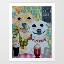 What a pear! Two dogs with fancy coffee. Art Print
