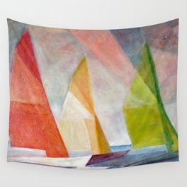 Sailing Yachts at Sunrise by Lyonel Feininger Wall Tapestry