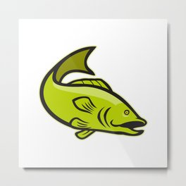 Largemouth Bass Jumping Cartoon Metal Print