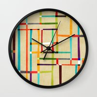 mondrian Wall Clocks featuring The map (after Mondrian) by Picomodi