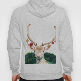 Watercolor Lovely Deer Artwork, Christmas Glam & Farmhouse Style Occasion Design Hoody