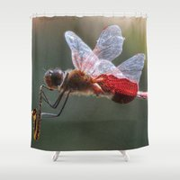 saxophone Shower Curtains featuring Red Dragonfly Playing a Saxophone. by Chuck Buckner