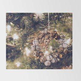 Jingle Bell Wreath on Christmas Tree (Color) Throw Blanket