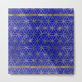 Flower of life pattern - Lapis Lazuli and Gold Metal Print