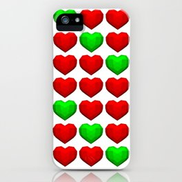 Lowpoly Christmas Hearts iPhone Case