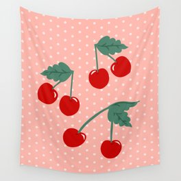 Cherry Kitsch on Pink Wall Tapestry