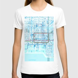 Chicago map in blue T-shirt