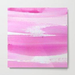 Blush pink white watercolor brushstrokes stripes Metal Print