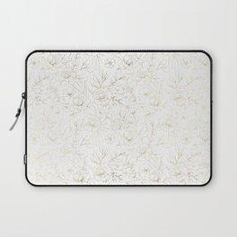 Elegant simple modern faux gold white floral Laptop Sleeve