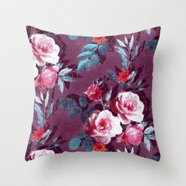 Retro Rose Chintz in Magenta and Plum Throw Pillow