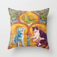 golden girls Throw Pillows featuring Golden Temple of the Good Girls by Susan Carlson