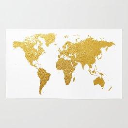 World Map Gold Foil Rug