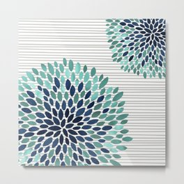 Floral Prints, Gray, Teal and Blue, Abstract Art Metal Print