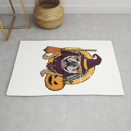 Witch Bulldog Dog Costume For Spooky Halloween Rug