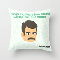 swanson Throw Pillows featuring Swanson by tukylampkin