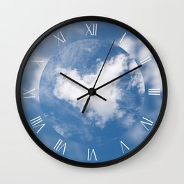 White clouds heart symbol Wall Clock