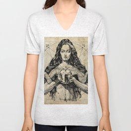 Lady With Skull. Ink on Paper. Юрий Фадеев. Yury Fadeev Unisex V-Neck