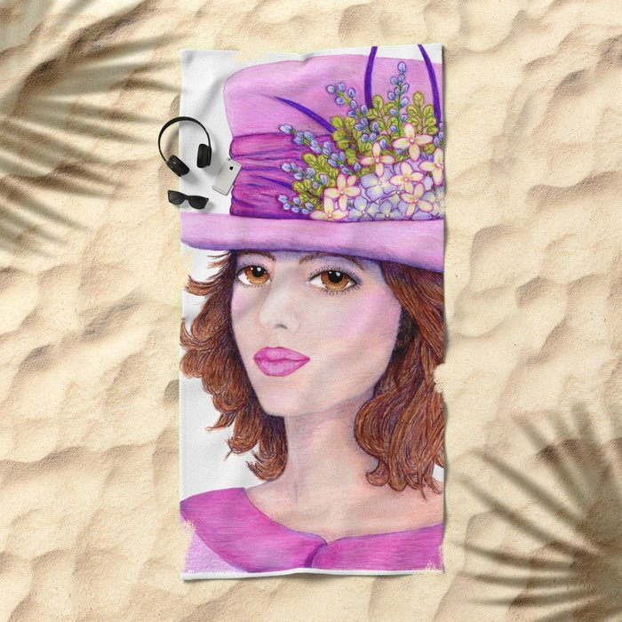 Doe-Eyed Girl by Jane Purcell Beach Towel