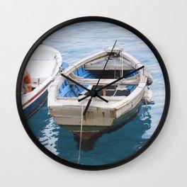Little fishing boat, blue sea Wall Clock