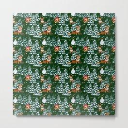 Corgis in the winter mountains - green pattern Metal Print