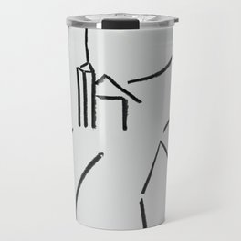 A Minimalist Charcoal Drawing of Una Vista de Ardales, Andalucia, Spain Travel Mug