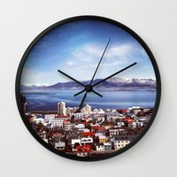 iceland Wall Clocks featuring Reykjavik, Iceland by tyler Guill