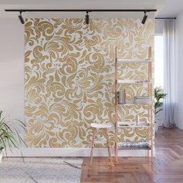 Gold foil swirls damask #13 Wall Mural