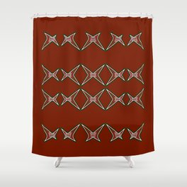 Stars Parade- red & green Shower Curtain