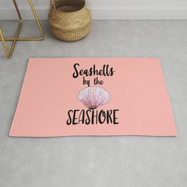 Watercolor Seashells by the Seashore Typography Rug