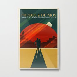 SpaceX Travel Poster: Phobos and Deimos, Moons of Mars Metal Print