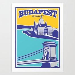 Budapest vintage poster, Chain Bridge Art Print