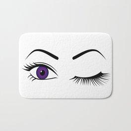 Violet Wink (Right Eye Open) Bath Mat