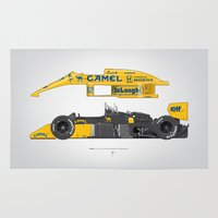 senna Area & Throw Rugs featuring Outline Series N.º5, Ayrton Senna, Lotus 99T-Honda, 1987 by Ricardo Santos