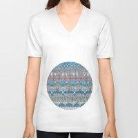 knitting V-neck T-shirts featuring KNITTING #4 by NADEZDA FAVA