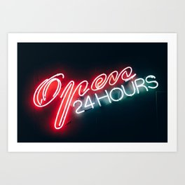 Open 24h Neon Sign Art Print