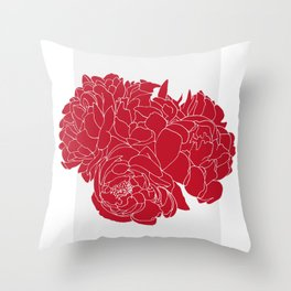 Floral Reds Throw Pillow